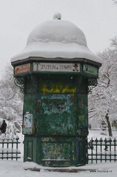 Zapada iarna in Gradina Cismigiu din Bucuresti