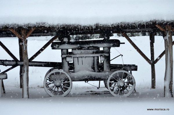 Zapada iarna la Muzeul National al Satului Dimitrie Gusti din Bucuresti