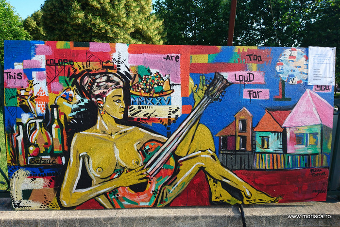 Panou graffiti in Parcul Izvor din Bucuresti - street art